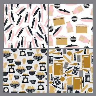 Hand drawn seamless kitchen patterns set
