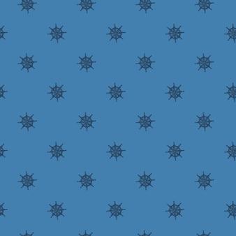 Ручной обращается бесшовные морской узор с орнаментом руля маленький корабль. синий фон. приключенческий морской принт. предназначен для тканевого дизайна, текстильной печати, упаковки, обложки. векторная иллюстрация.
