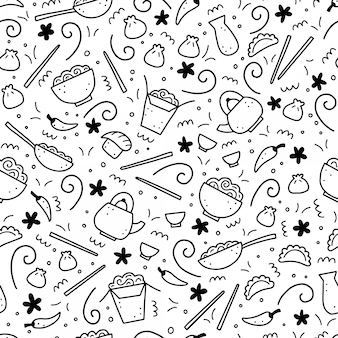 Hand drawn seamless pattern of asian food elements. doodle style.