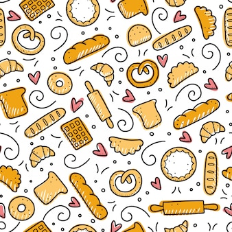 Hand drawn seamless pattern of bakery elements. doodle style.