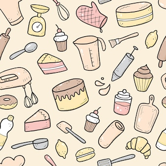 Hand drawn seamless pattern of baking and cooking tools