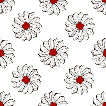 Hand drawn seamless pattern of biscuits with jam