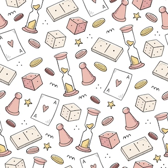 Hand drawn seamless pattern of board game element, cards, chess, hourglass, chips, dice, dominoes. doodle sketch style.