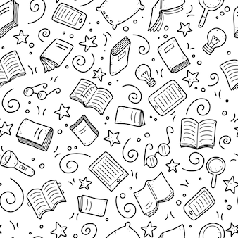 Hand drawn seamless pattern of book doodle elements, education concept.