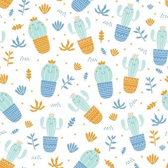 Hand drawn seamless pattern of cactus and leafs with childish style