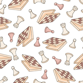 Hand drawn seamless pattern of cartoon chess game pieces. doodle sketch style.