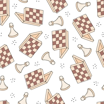 Hand drawn seamless pattern of cartoon chess game pieces