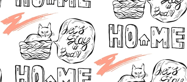 Hand drawn   seamless pattern of cat in pottle with speech bubble and let s stay in bed phrase
