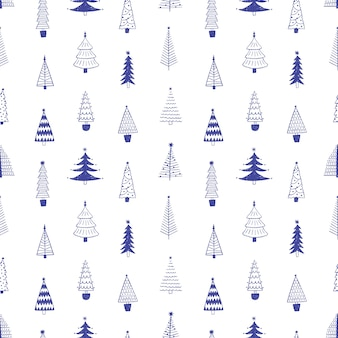 Hand drawn seamless pattern of christmas trees
