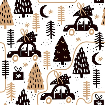 Hand drawn seamless pattern for christmas