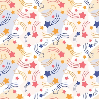 Hand drawn seamless pattern of colorful shooting stars, comets and meteorites on light background
