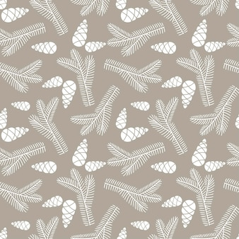 Hand drawn seamless pattern  doodle of fir tree branch with cones isolated on beige backgroun