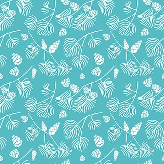 Hand drawn seamless pattern  doodle of fir tree branch with cones isolated on blue background