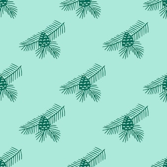 Hand drawn seamless pattern  doodle of fir tree branch with cones isolated on green background