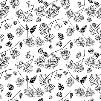 Hand drawn seamless pattern  doodle of fir tree branch with cones isolated on white background