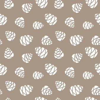 Hand drawn seamless pattern  doodle of fir tree cones isolated on beige background