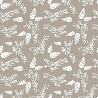 ベージュの背景に分離された円錐形のモミの木の枝の手描きのシームレスなパターン落書き