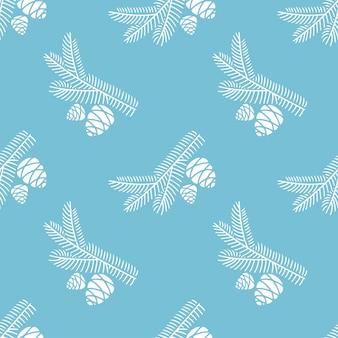 青い背景で隔離の円錐形のモミの木の枝の手描きのシームレスなパターン落書き