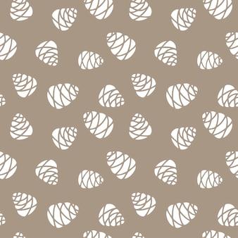 ベージュの背景に分離されたモミの木の円錐形の手描きのシームレスなパターン落書き
