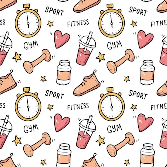 Hand drawn seamless pattern of fitness gym equipments doodle sketch style sport element drawn by digital brushpen illustration for icon frame background