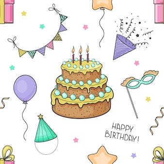 Hand drawn seamless pattern from festive elements. happy birthday. cake, flags, mask, balloon, gift box. sketch. vector illustration.