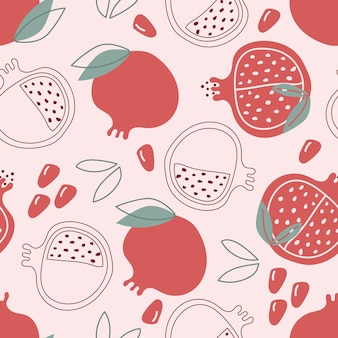 Hand drawn seamless pattern of garnet pomegranate on pink background