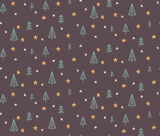 Hand drawn seamless pattern illustration of a christmas tree and a star. scandinavian style flat design for kids.