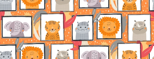 Hand drawn seamless pattern illustration of cute animals in frames. scandinavian style flat design for kids.