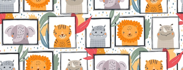 Hand drawn   seamless pattern illustration of cute animals in frames.