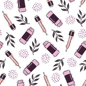 Hand drawn seamless pattern of makeup