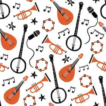 Hand drawn seamless pattern of musical instrument. flat sketch style.