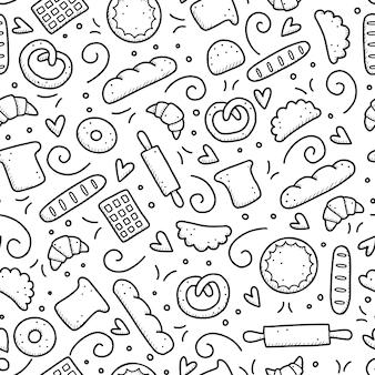 ベーカリー要素、パン、ペストリー、クロワッサン、ケーキ、ドーナツの手描きのシームレスなパターン。落書きスケッチスタイル。