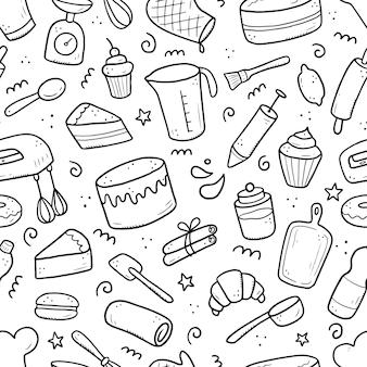 ベーキングおよび調理ツール、ミキサー、ケーキ、スプーン、カップケーキ、スケールの手描きのシームレスなパターン。落書きスケッチスタイル。テキスタイル、背景、壁紙のデザインのイラスト。