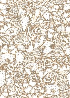 パンやベーカリー製品の手描きのシームレスなパターン。焼き菓子の背景。