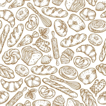 손으로 그린 빵과 빵집 제품 그림의 완벽 한 패턴