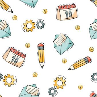 ビジネスと財務の要素の手描きのシームレスなパターン
