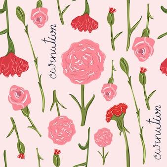 カーネーションの花の手描きのシームレスなパターンフラットイラスト