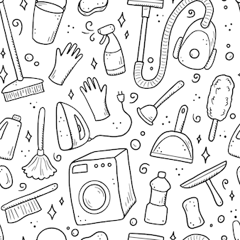 洗浄装置、スポンジ、掃除機、スプレー、ほうき、バケツの手描きのシームレスなパターン。落書きスケッチスタイル。デジタルブラシペンで描かれたきれいな要素。背景、壁紙、バナーのイラスト。