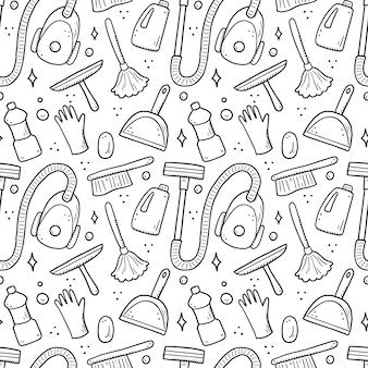 洗浄装置、スポンジ、掃除機、スプレー、ほうき、バケツの手描きのシームレスなパターン。落書きスケッチスタイル。