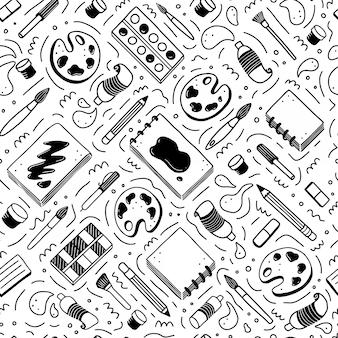 창의적이 고 예술 요소의 손으로 그려진 된 완벽 한 패턴입니다. 낙서 스타일.