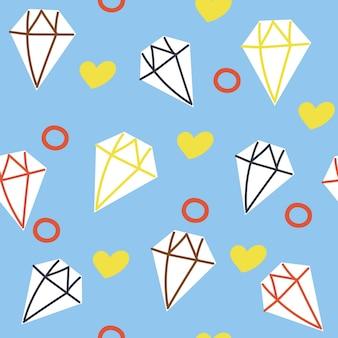 손으로 그린 다이아몬드 원활한 패턴 귀엽고 재미있는 평면 그림 유치한 디자인