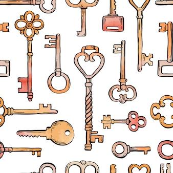 장식용 장식 요소가 있는 다른 골동품 키의 손으로 그린 매끄러운 패턴입니다. 낙서 스케치 스타일 벡터 일러스트 레이 션. 배경, 벽지, 질감 디자인을 위한 오래된 빈티지 핵심 요소입니다.