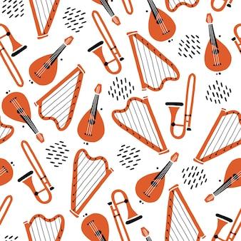 楽器の手描きのシームレスなパターン。フラットスケッチスタイル。