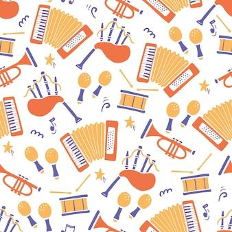 Ручной обращается бесшовные модели музыкального инструмента. плоский стиль эскиза.