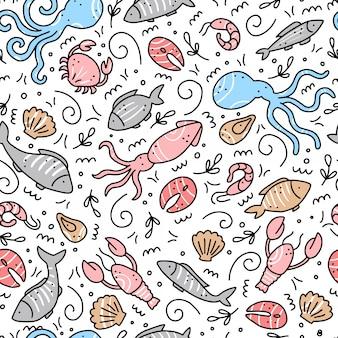 シーフード要素の手描きのシームレスなパターン。落書きスタイル。