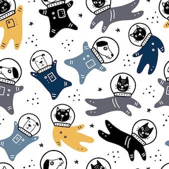 星、彗星、ロケット、惑星、猫、犬の宇宙飛行士の要素を持つ空間の描かれたシームレスパターンを手します。