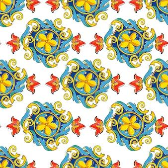 手描きのシームレスパターン飾りマヨリカ焼き