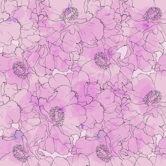 Hand drawn seamless pattern peony flowers