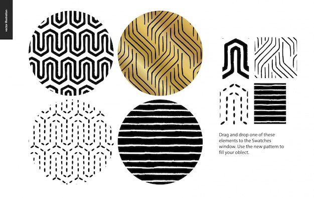 Hand drawn seamless pattern - rounded set