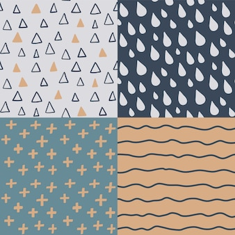 Hand drawn seamless pattern set.